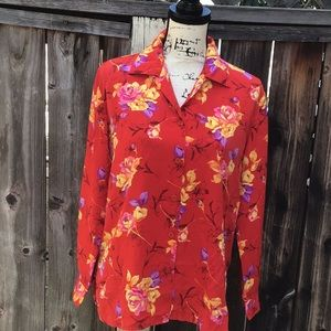 Pre-owned. Rose Prints Button Down Shirt